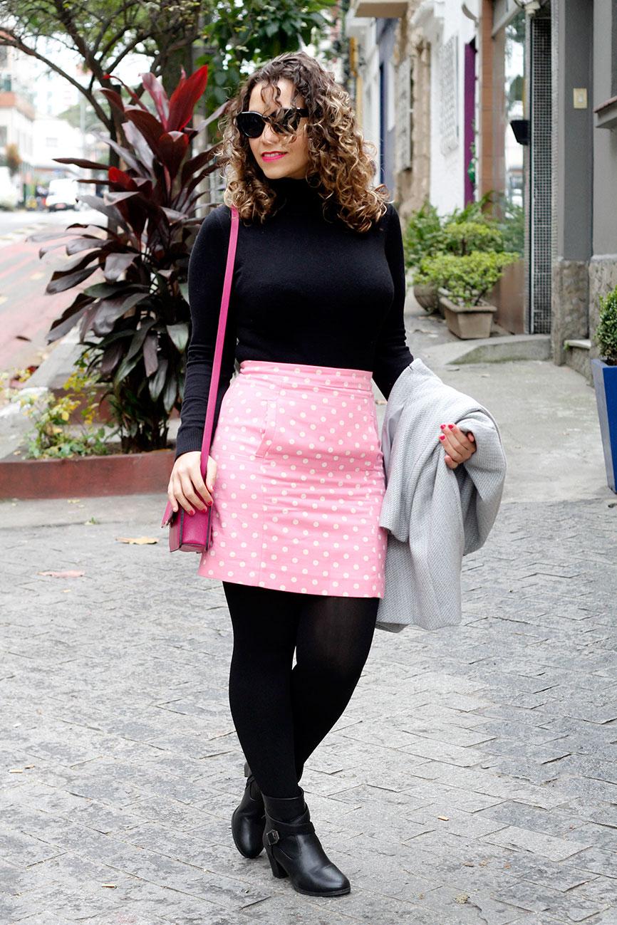look de inverno preto pink