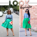 Look Inspiração: Saia de pregas e camisa jeans